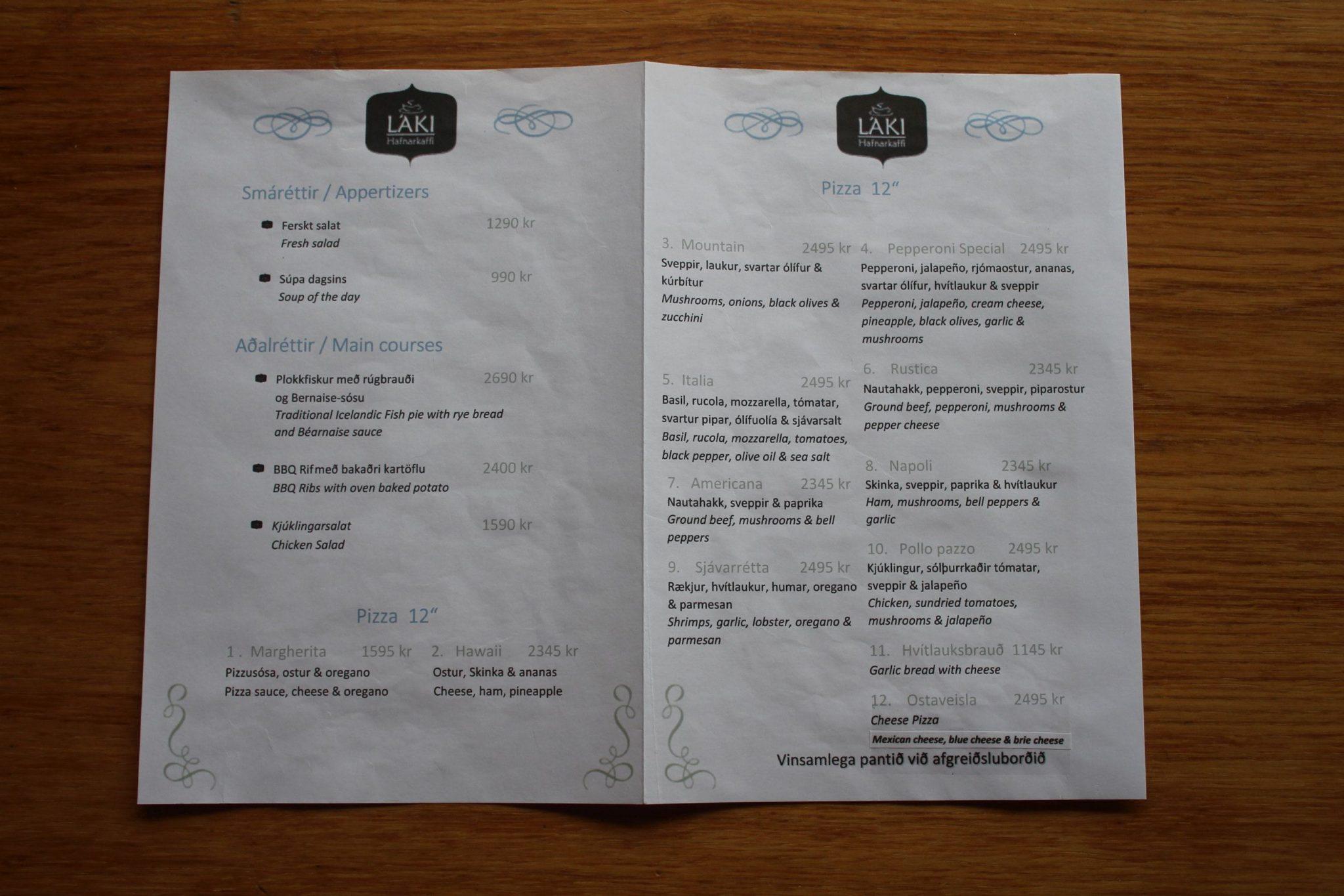 Laki Cafe Dinner - Restaurant Grundarfjordur - Hafnarkaffi Lunch Laki Cafe Grundarfjordur - Láki Hafnarkaffi Matseðill